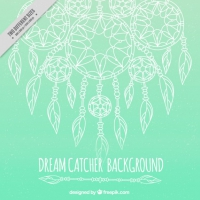 Green Background With Hand Drawn Dream Catchers