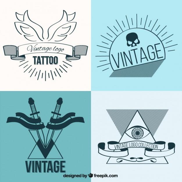 Linear Vintage Tattoos Set