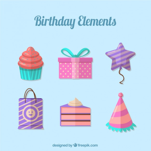 Flat Cute Birthday Elements