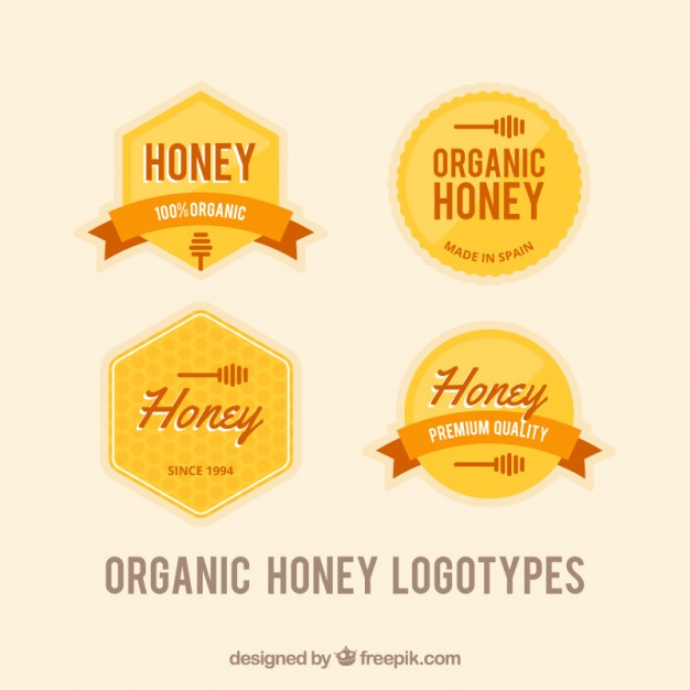 Set Of Honey Badges In Retro Style