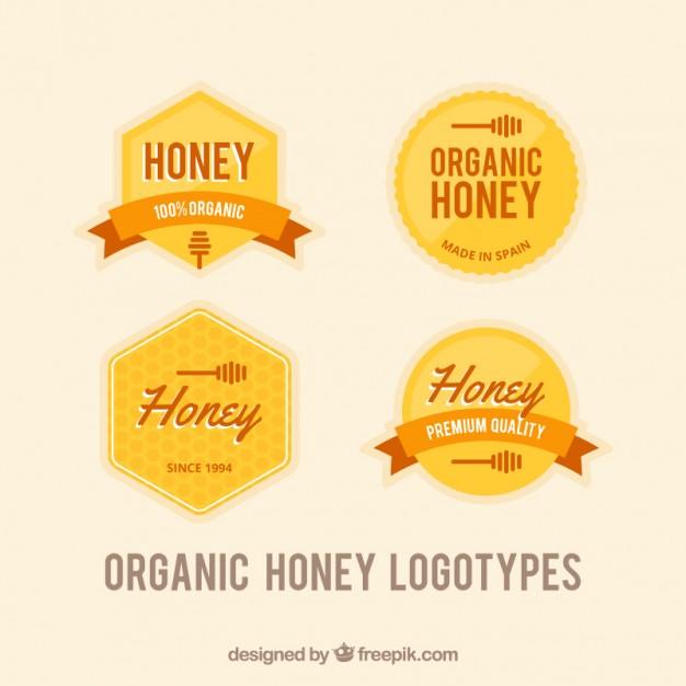 Set Of Honey Badges In Retro Style