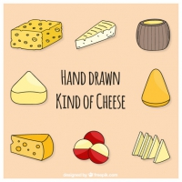 Set Of Sketches Tasty Cheese