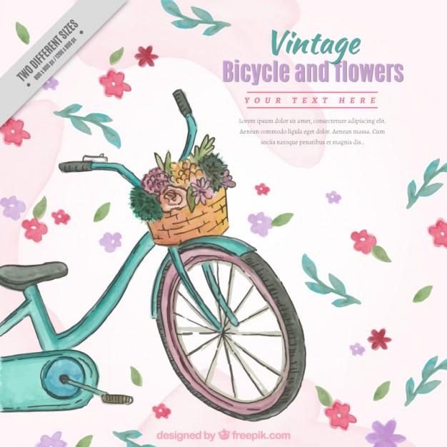 Hand Drawn Watercolor Vintage Bike
