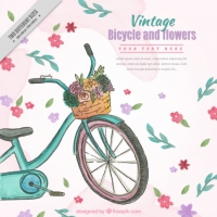 Hand Drawn Watercolor Vintage Bike