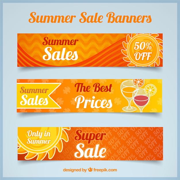 Set Of Three Orange Summer Sale Banners