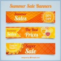 Set Of Three Orange Summer Sale Banners
