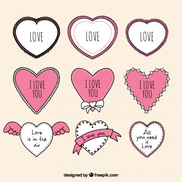 Hand Drawn Love Frames Heart Shaped