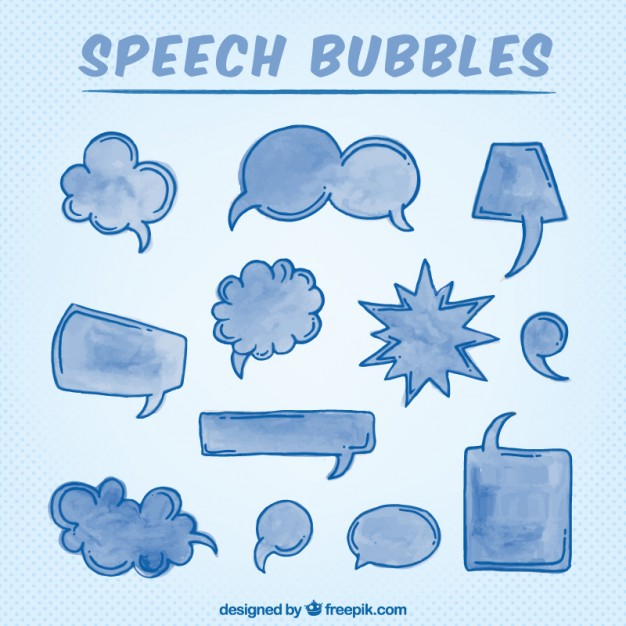 Hand Drawn Watercolor Speech Bubbles In Blue Color