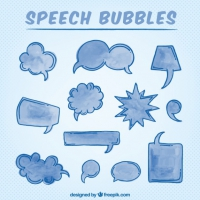 Hand Drawn Watercolor Speech Bubbles In Blue Color