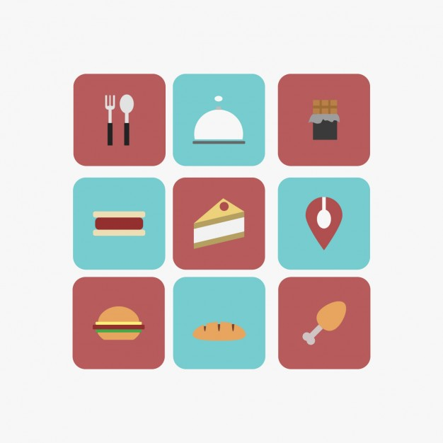 Collage Of Restaurant And Food In Flat Design