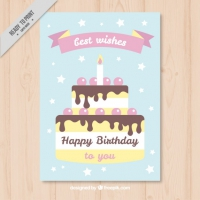 Birthday Cake Card In Pastel Colors