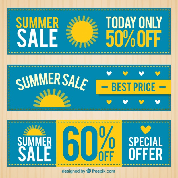 Blue Summer Discount Banners