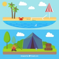 Summer Landscapes In Flat Design
