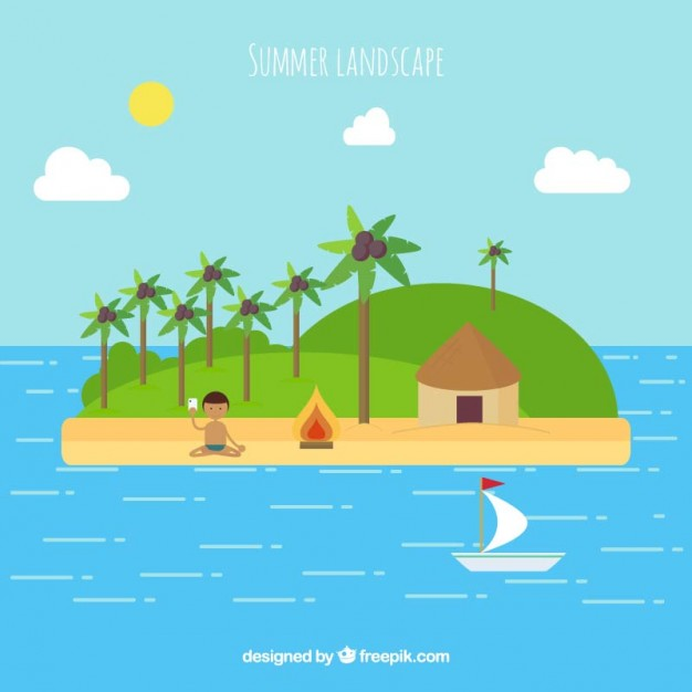 Summer Landscape Of Island In Flat Design