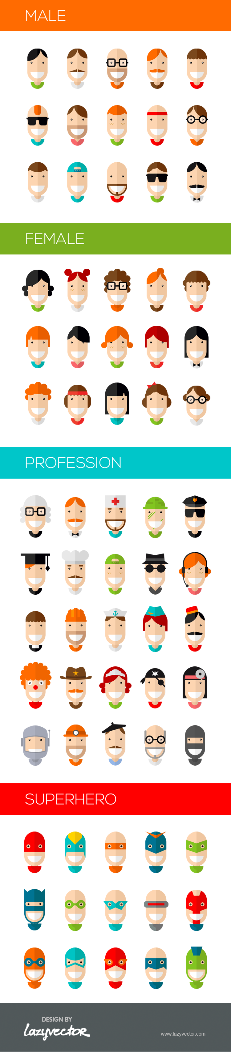 70 Happy Character Icons Free Psd