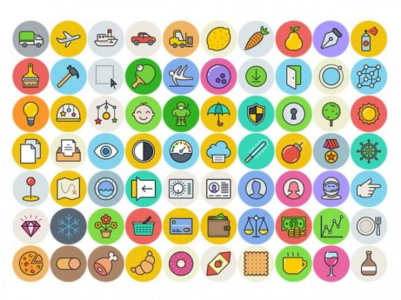 UniGrid – 100 Free Flat Icons