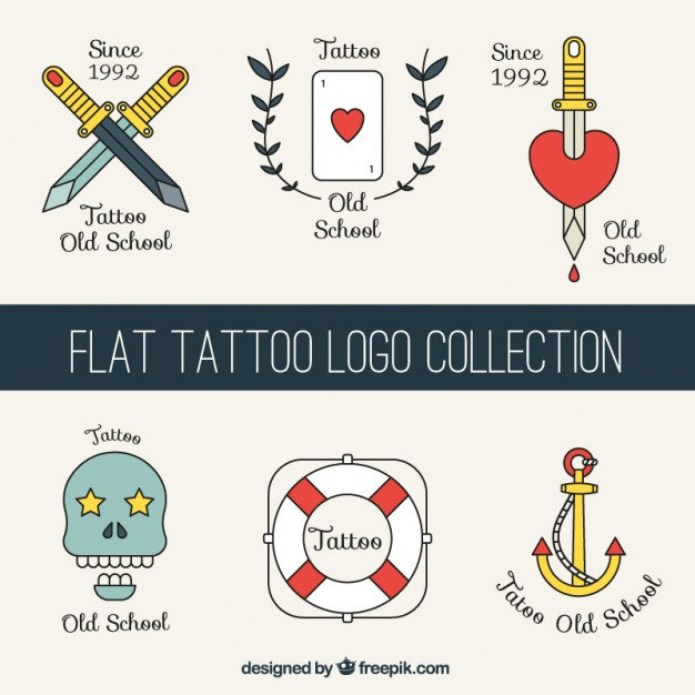 Flat Tattoos Logos Set