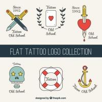 Flat Tattoos Logos Set