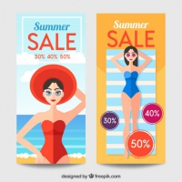 Beach Scene For Summer Sales Banner