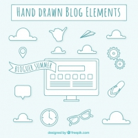Hand Drawn Blog Elements In Blue Color