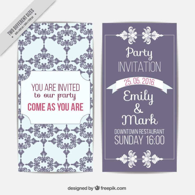 Cute Wedding Card With Vintage Decoration