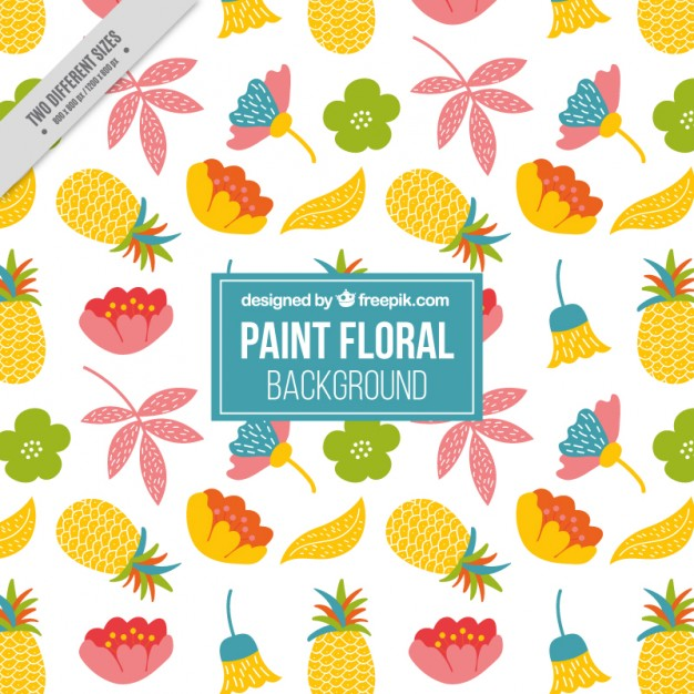 Hand Drawn Floral Background With Pinapples