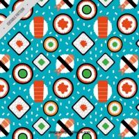 Variety Of Flat Sushi Pattern
