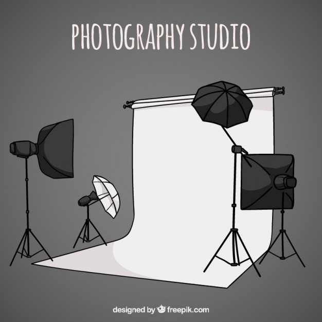 Hand Drawn Photography Studio With Accessories