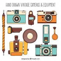Selection Of Vintage Hand Drawn Cameras
