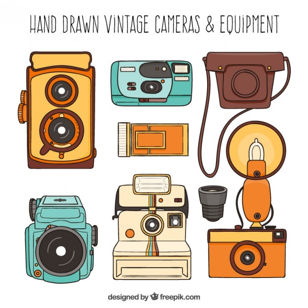 Hand Drawn Retro Cameras And Equipment