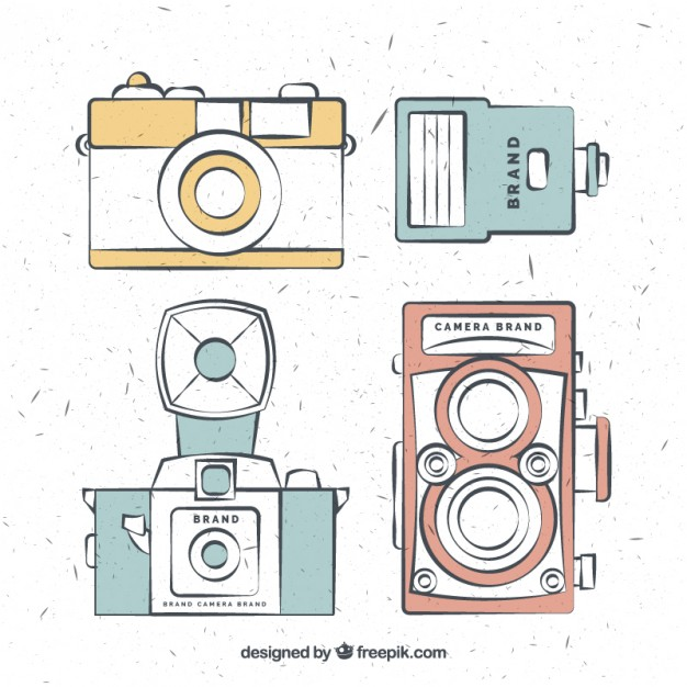 Hand Drawn Vintage Cameras In Colors