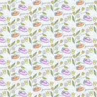 Cute Hand Drawn Hats And Flowers Pattern