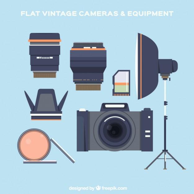 Flat Equipment Of Photography
