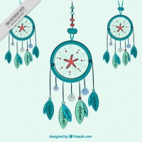 Hand Drawn Green Dreamcatchers Background