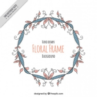 Vintage Hand Drawn Flowers Wreath Background