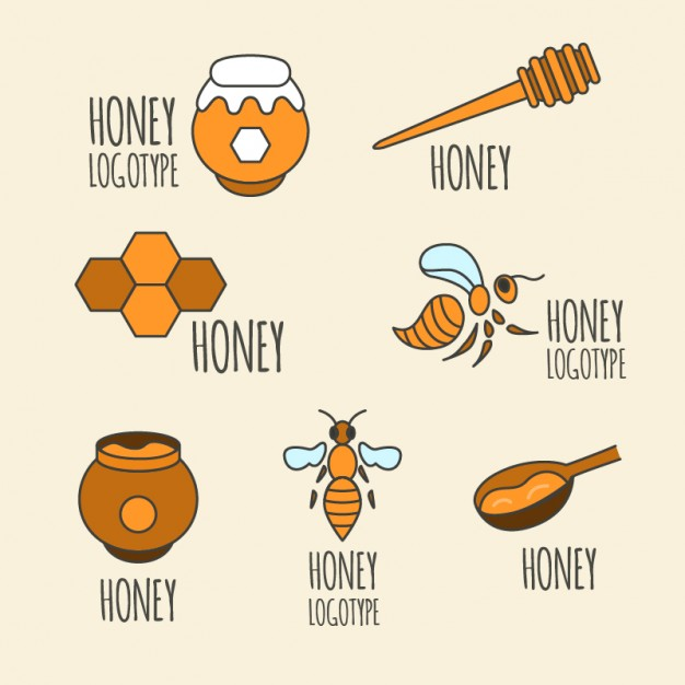 Selection Of Hand Drawn Honey Elements