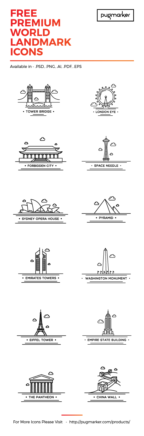 World Landmark: 12 Free Icons