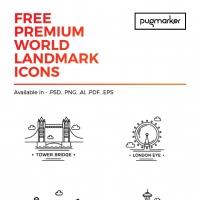 World Landmark: 12 Free Icons