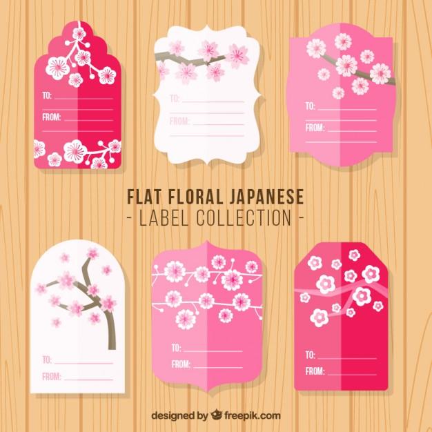 Flat Vintage Floral Japanese Labels