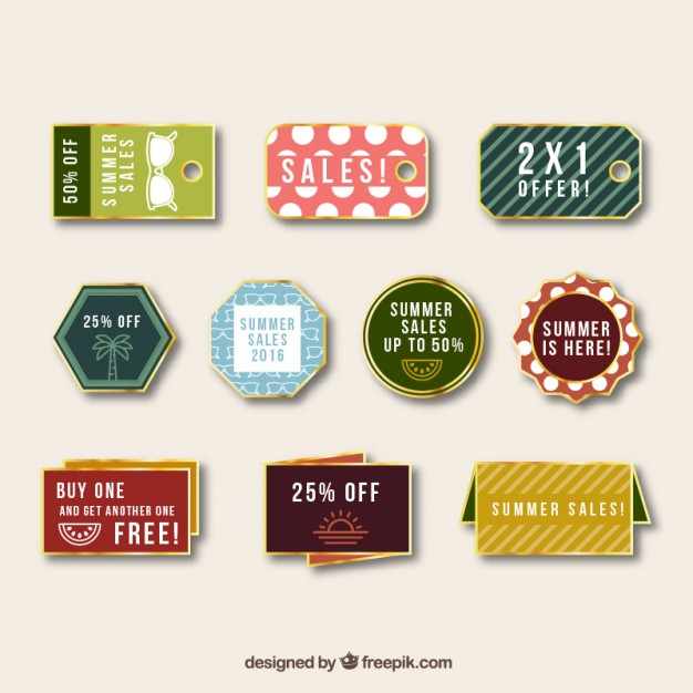 Beautiful Summer Sales Vintage Tags