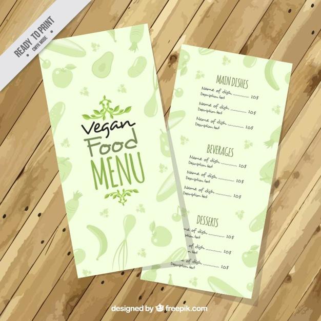 Green Cute Vegan Menu