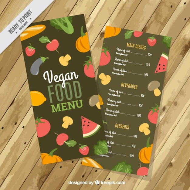Vegan Food Menu With Vegetables And Fruits