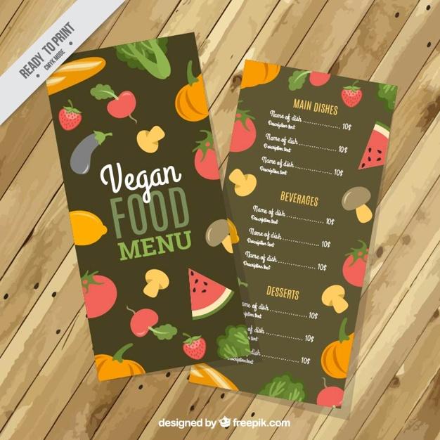 Vegan Food Menu With Vegetables And Fruits
