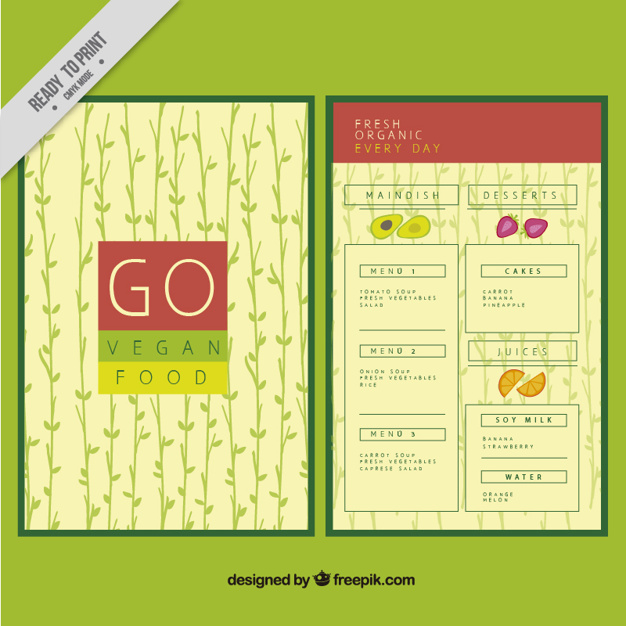 Vegan Food Menu With Hand Drawn Leaves