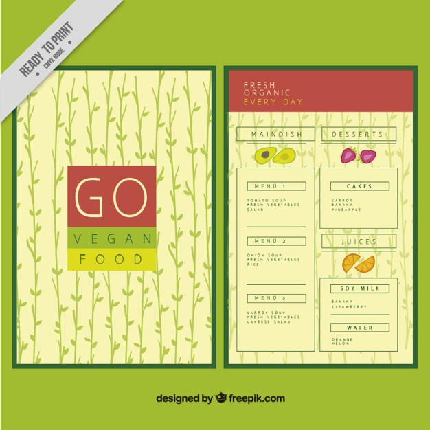 Vegan Food Menu With Hand Drawn Leaves