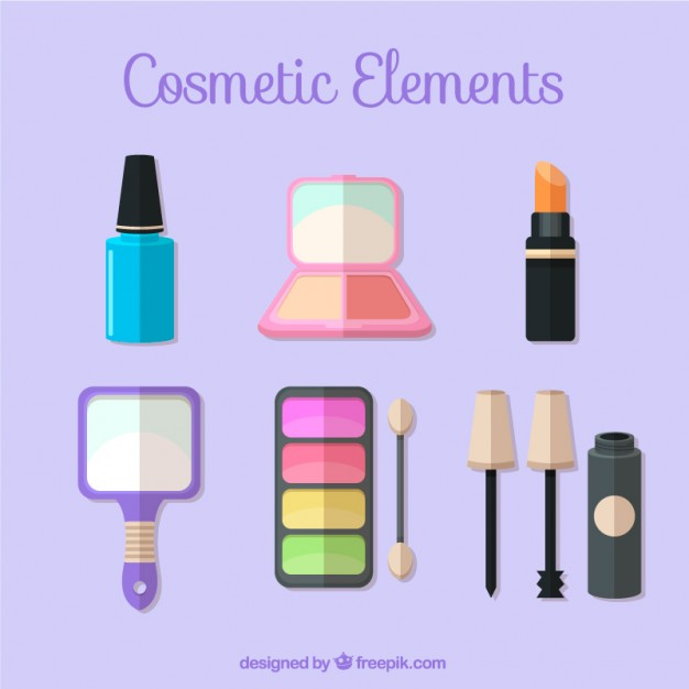 Set Of Cosmetic Elements In Flat Sesign