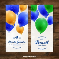 Brazil Banners Of Realistic Colored Balloons