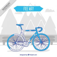 Hand Drawn Blue Bike Vintage Background