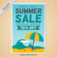 Summer Sale Flyer With Beach