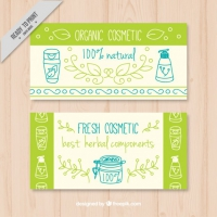 Organic Cosmetics Banners With Drawings